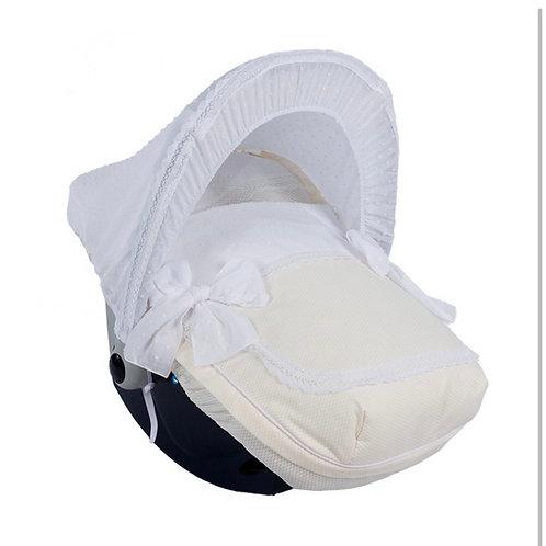 Nubeluna Cream Bianca Car Seat Cover With Hood