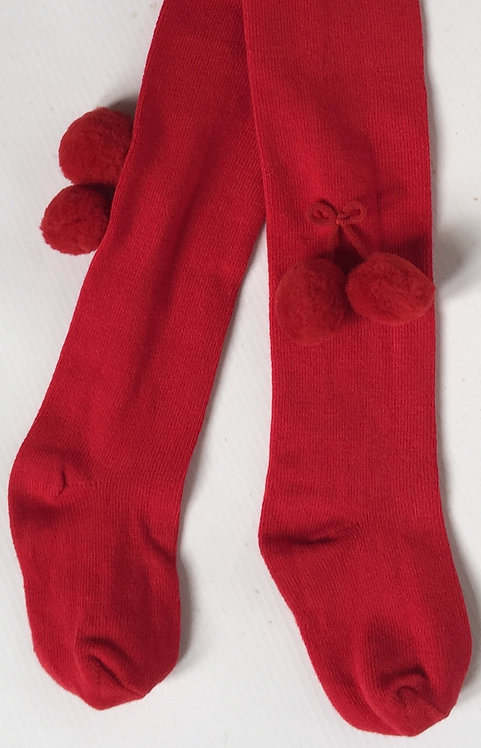 Carlomagno Red Pom Pom Tights