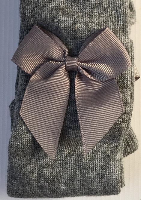 Carlomagno Grey Grosgrain Bow Tights