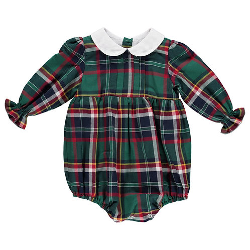 DOT Green Plaid Budapeste Romper