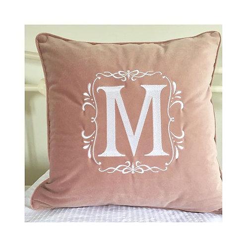 Personalised Dusky Pink Velvet Piped Cushion