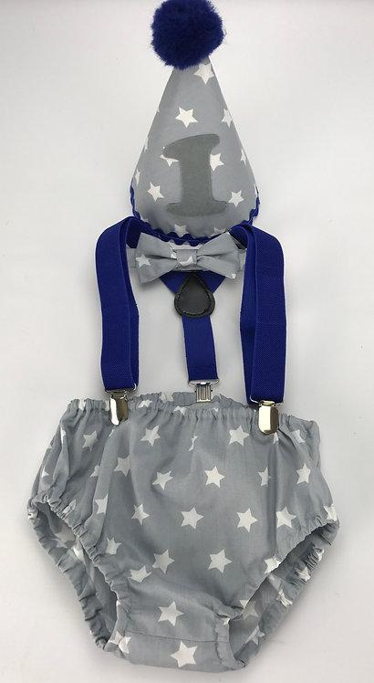 White Stars Cake Smash Outfit