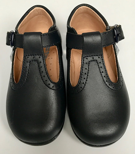 Angelitos Navy Blue T Bar Leather Shoes