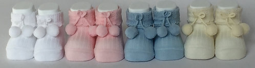 Carlomagno Baby Pink Pom Pom Baby Bootees