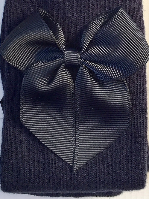 Carlomagno Navy Grosgrain Bow Tights