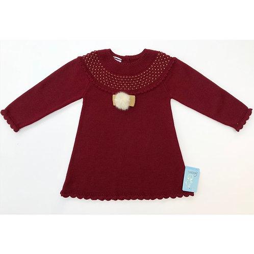 Granlei Burgundy Smock PomPom Dress