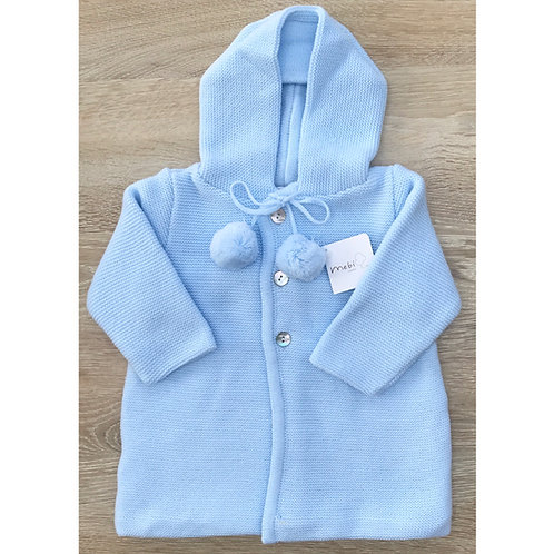 Mebi Baby Blue Pom Pom Coat