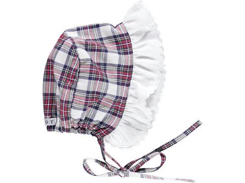 DOT Plaid Winter Frill Bonnet