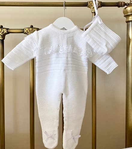 White Knitted Babygrow with Lace