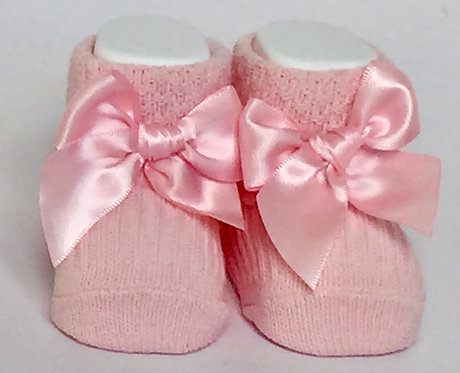 Carlomagno Baby Pink Bow Baby Bootees