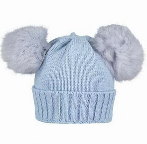 Double Fur Pom Pom Hat Blue