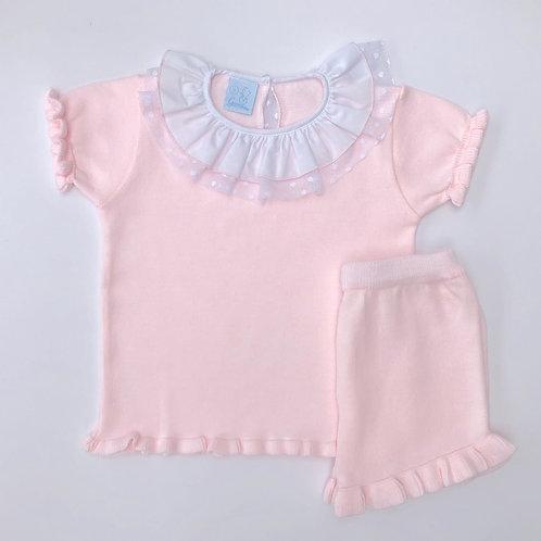 Granlei Pink Lace Collar Shorts Set