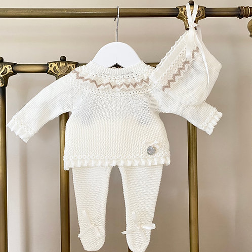 Ivory Baby Set with crochet frill