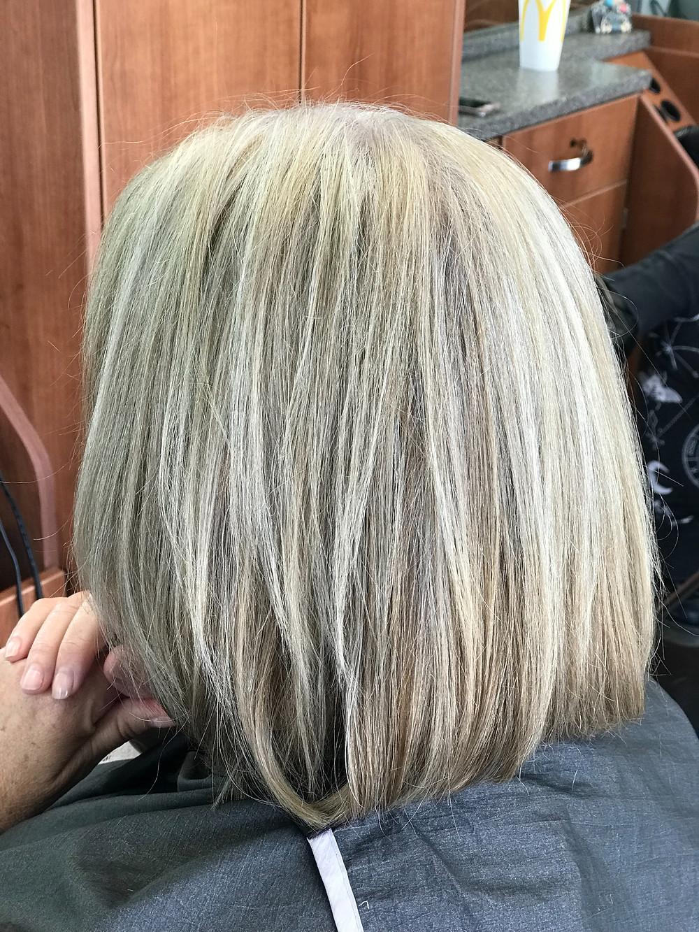 Beautiful grey hair bob