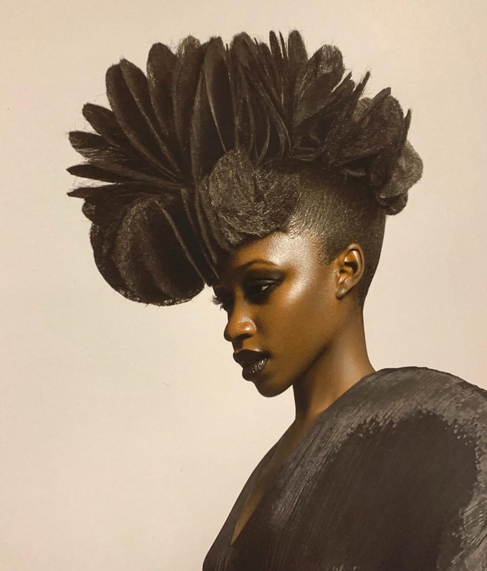 An avante garde Sharon Blain piece make with hair paper