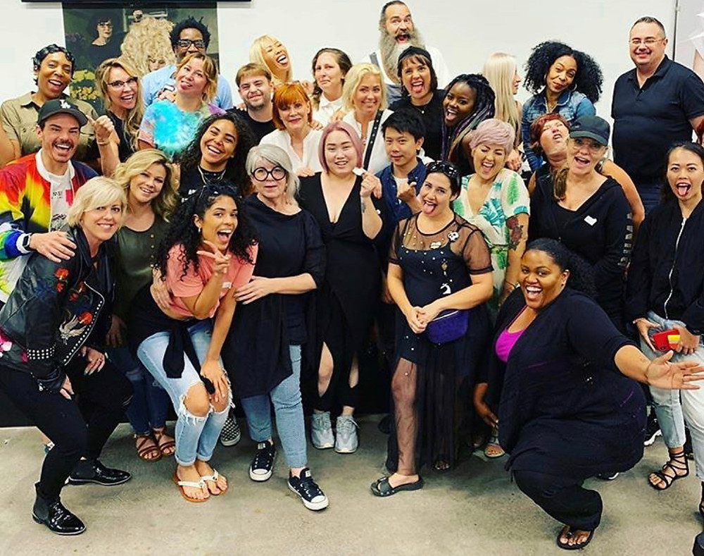 Group of students/stylists at the avante garde Sharon Blaine class