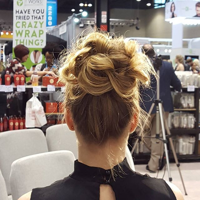 Blonde up-do by Kimberly Irene at a Thermafuse hair show