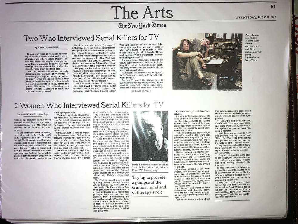 New York Times Arts Section front page article about Amy Kalafa and Inside the Criminal Mind
