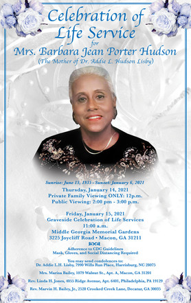 Celebration of Life Service to be held for Barbara Jean Hudson, Mother of Star of Zion Editor