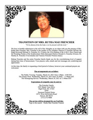 Transition Announcement for Mrs. Rutha Mae Frencher