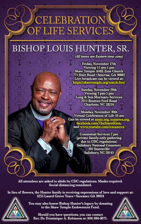 Celebration of Life Services for Bishop Louis Hunter, Sr.