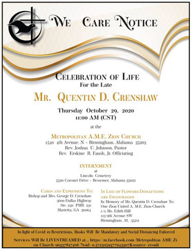 Celebration of Life for Quentin D. Crenshaw, Son of A.M.E. Zion Bishop George Crenshaw