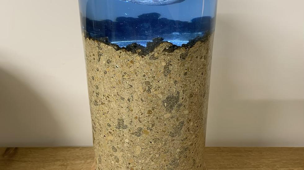 Blue resin elm burr concrete lamp