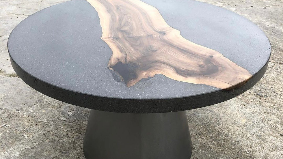 Round concrete table with walnut