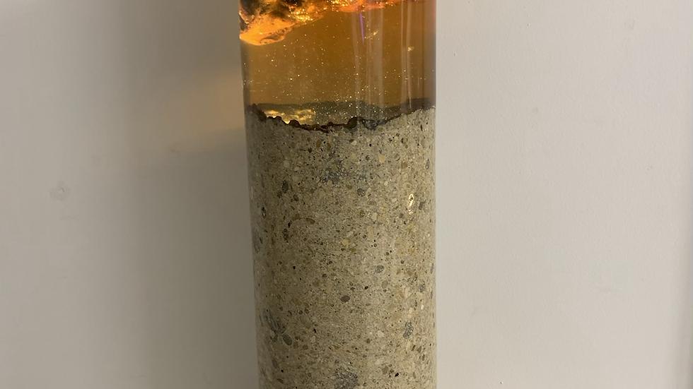 Orange Elm Burr concrete lamp