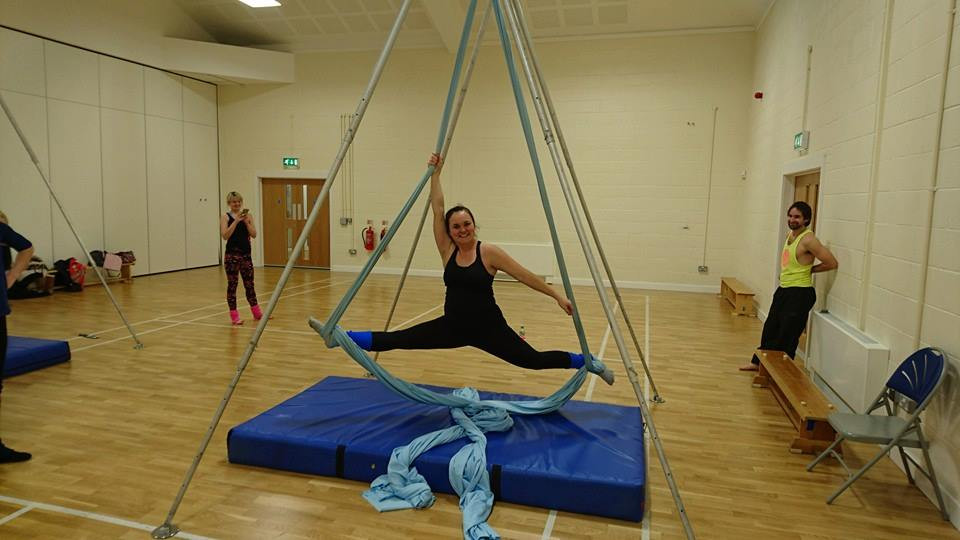 Jodie Golby on silks at Bersted Park