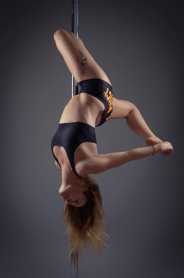 Marie performing Box Gemini hooking her right leg at a recent Photo Shoot. Photo Credit: The Image Cellar