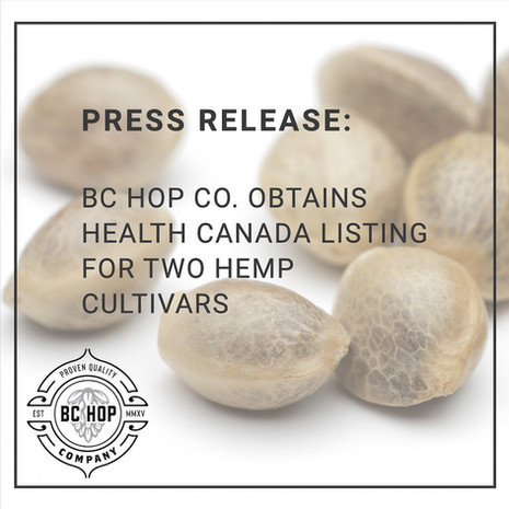 BC Hop Company Ltd. Receives Health Canada Approval for Two New Hemp Cultivars
