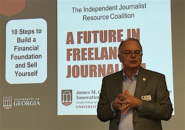 Keith Herndon kicks off the initial IJRC workshop in Lawrenceville. He is the Director of the James M. Cox Jr. Institute for Journalism Innovation, Management and Leadership.