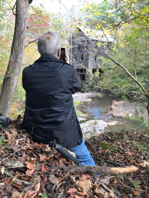 Leonard Turner photographing Wilkerson Mill.