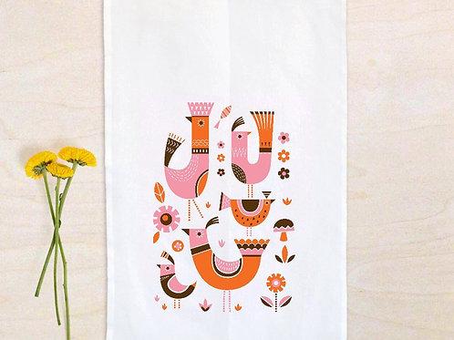 Mid Century Modern Birdies tea towel