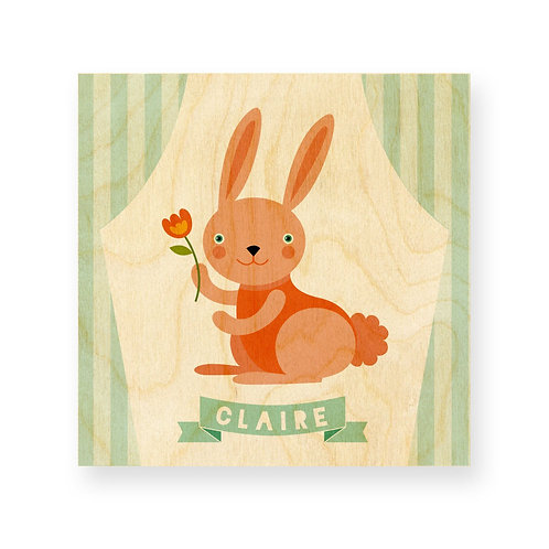 Happy Bunny personalized print on wood