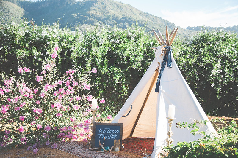 boho carmel valley wedding teepee