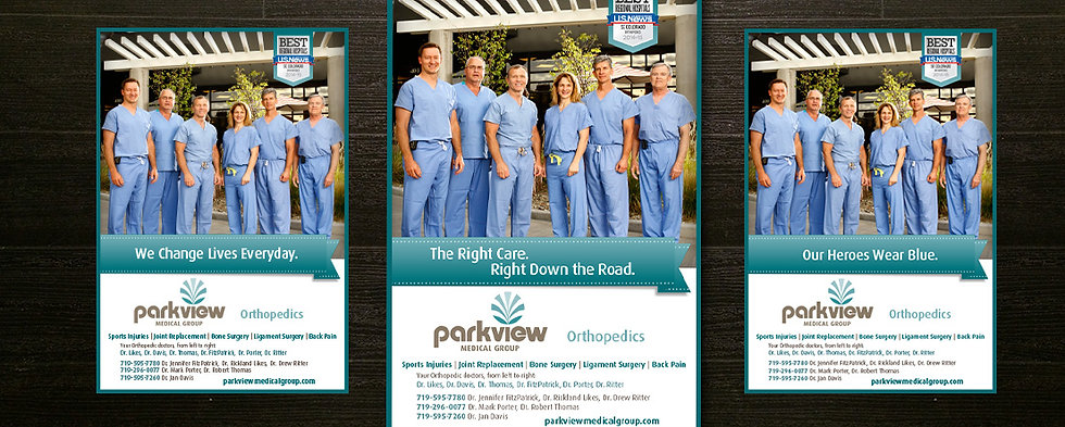 Advertising campaign for Parkview Medical Group promoting new service lines for patients.