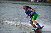 Child waterskiing in Long Lake