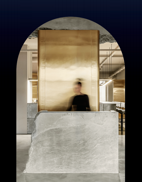 salon design poured concrete reception desk