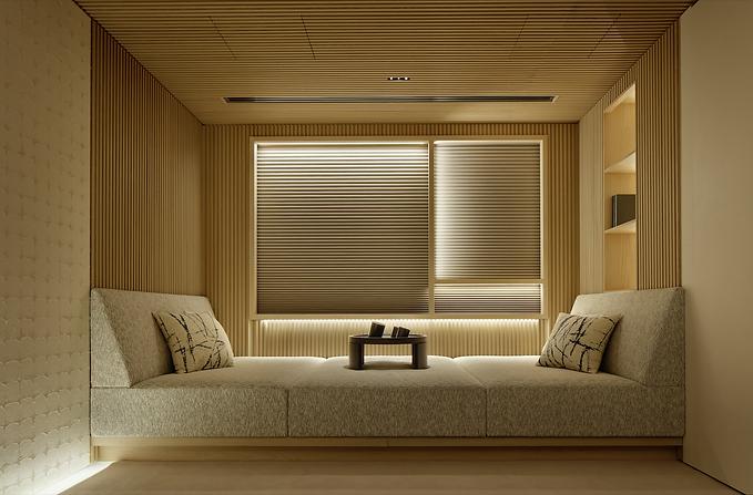 Tokyo interior design window seat with slatted walls
