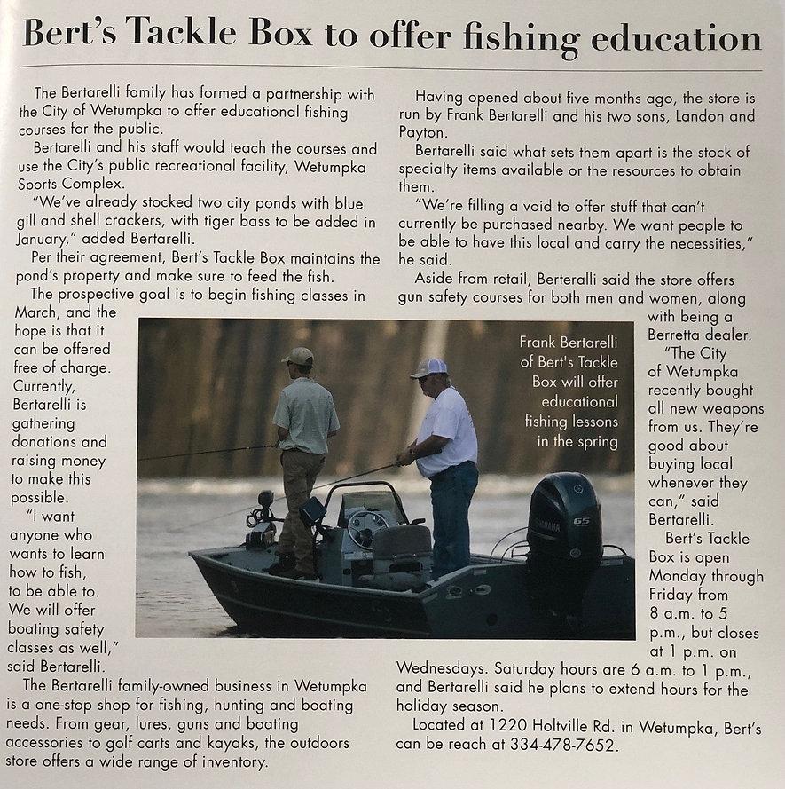 Bert's Tackle Box - magazine article