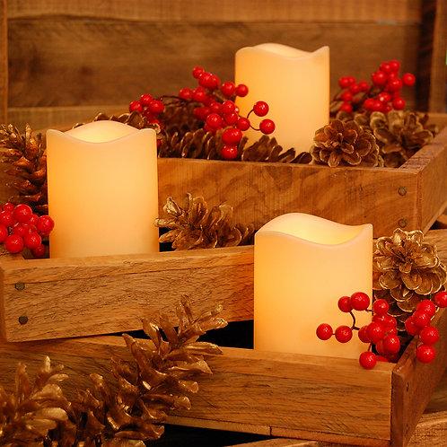 Battery LED Faux Pillar Candles - Amber 3L