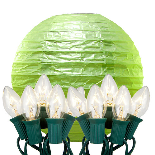 Electric String Lights with Green Paper Lanterns Kit 10ct