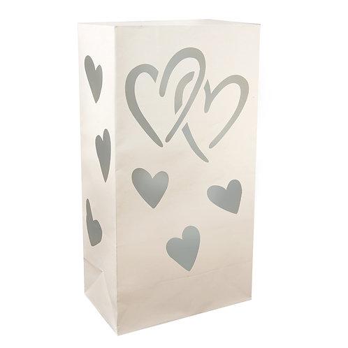 Luminaria Bags – Silver Hearts 24ct