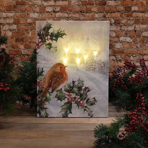 Christmas Wall Art - Bird on Holly Tree w/ Remote Control