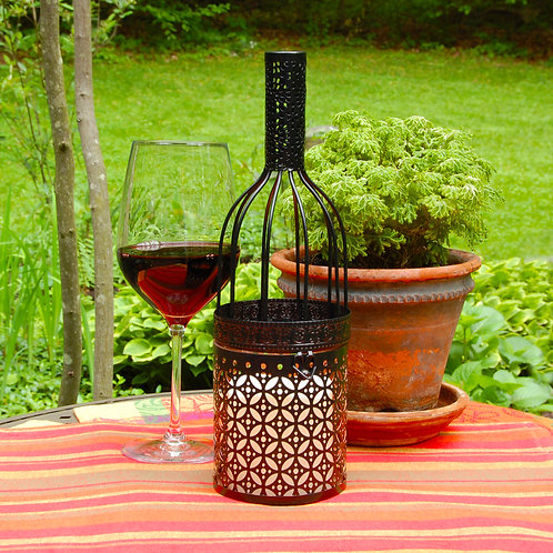 Metal Lantern Wine Bottle w/Flameless Candle 1ct