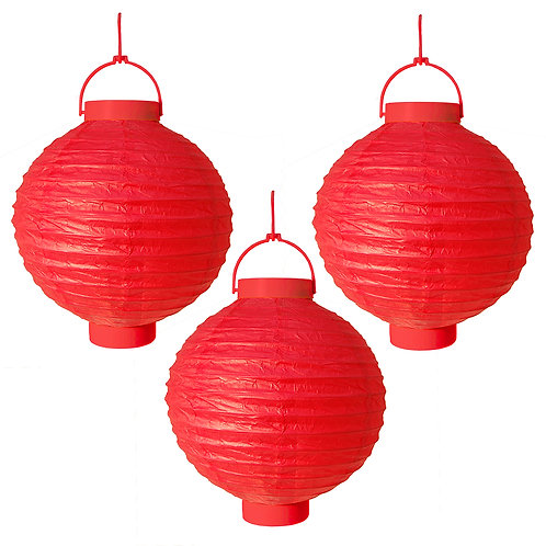 """Battery Paper Lantern 8"""" - Red  3ct"""