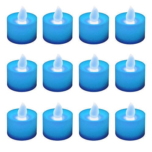 Battery LED Tealights - Blue 12L