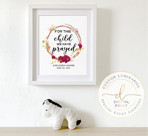For This Child I Have Prayed Personalized Print